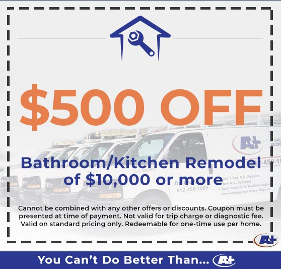 A-Plus Air Conditioning & Home Solutions - Discounts on Bathroom/Kitchen Remodel